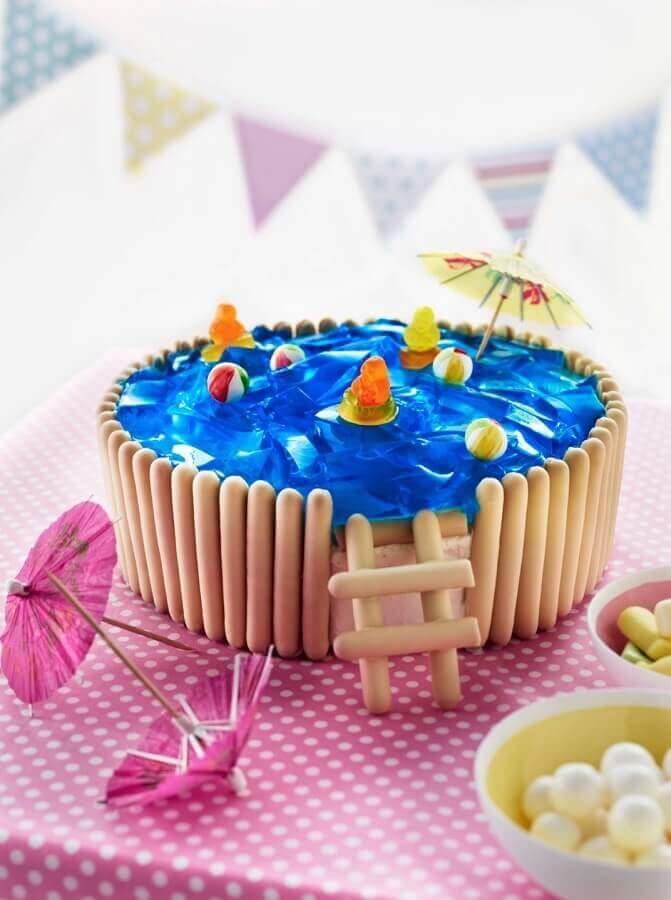 bolo festa na piscina infantil Foto Cakes Discovery Engine