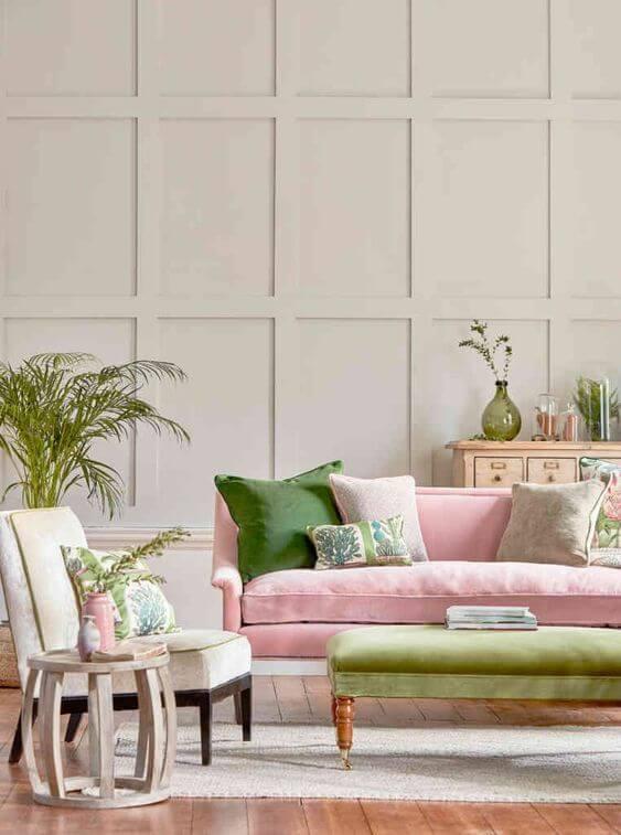 Cores para sala em verde e rosa, super clean