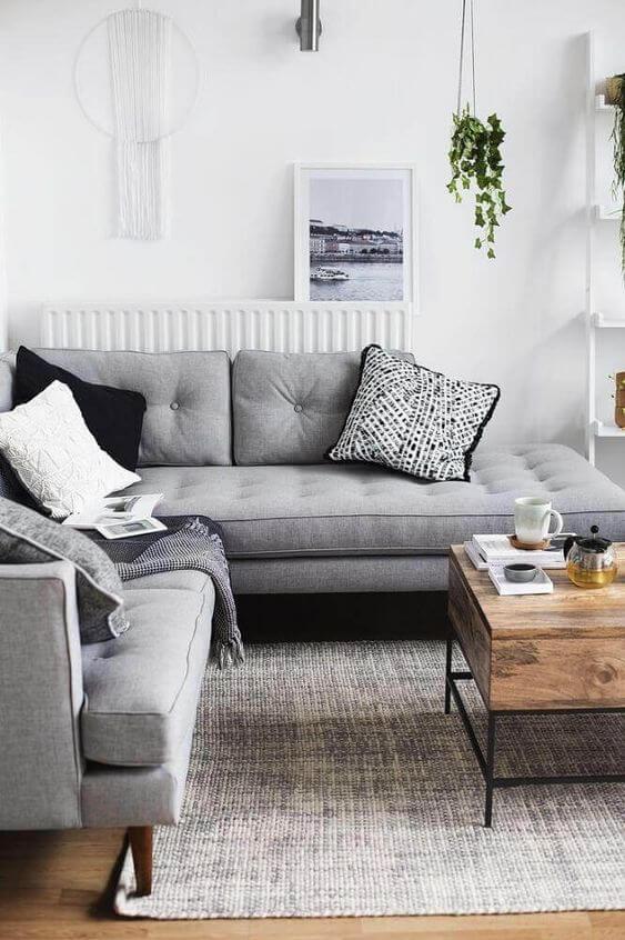 Cores para sala de estar cinza e neutra