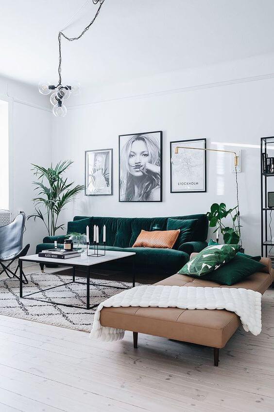 Cores para sala com sofá verde