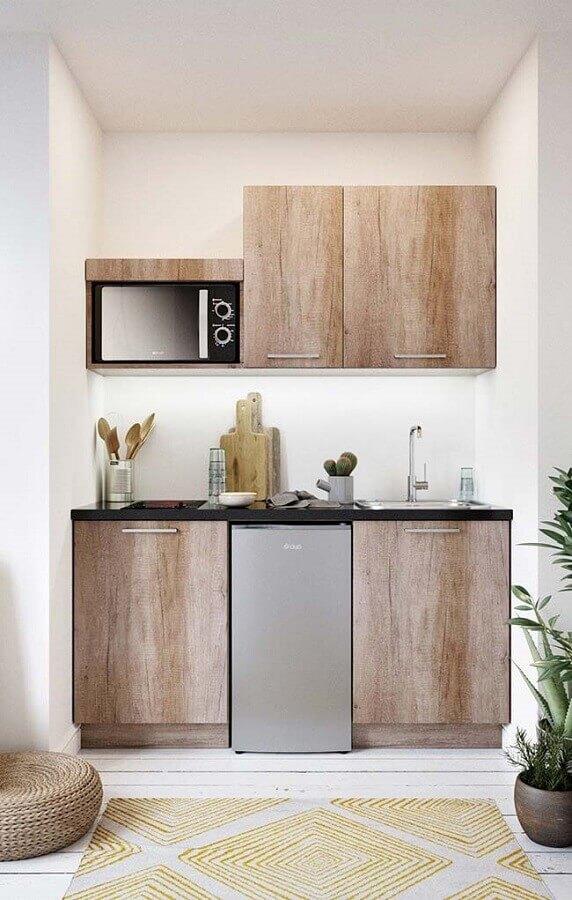 decoração clean com móveis planejados para cozinha pequena Foto Pinterest
