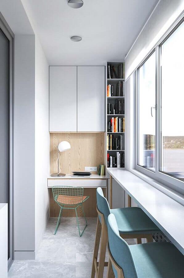 decoração clean com móveis planejados para home office pequeno Foto Ideias Decor