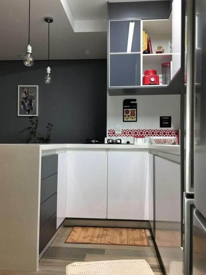 decoração clean para cozinha pequena com móveis planejados Foto Pinterest