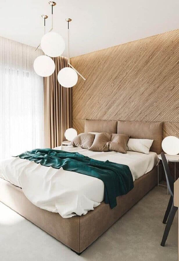decoração com lustre para quarto de casal moderno Foto Casas Pré Fabricadas