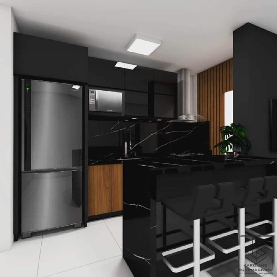 decoração com móveis planejados para cozinha americana toda preta Foto Karoline Scarmagnani