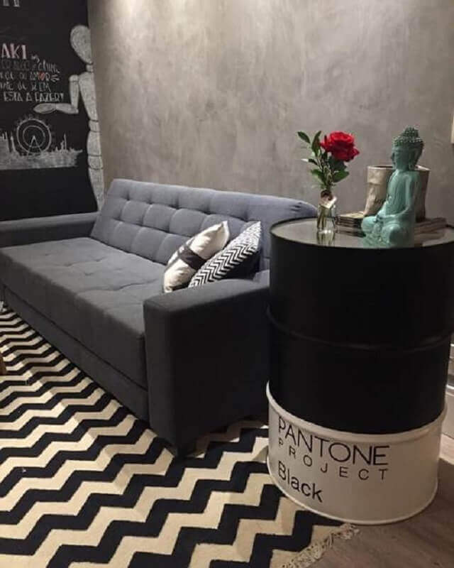 decoração com tonel para sala moderna preta e branca Foto Decoração de Casa