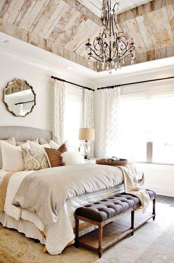 decoração rústica com modelo candelabro de lustre para quarto de casal Foto Architizer