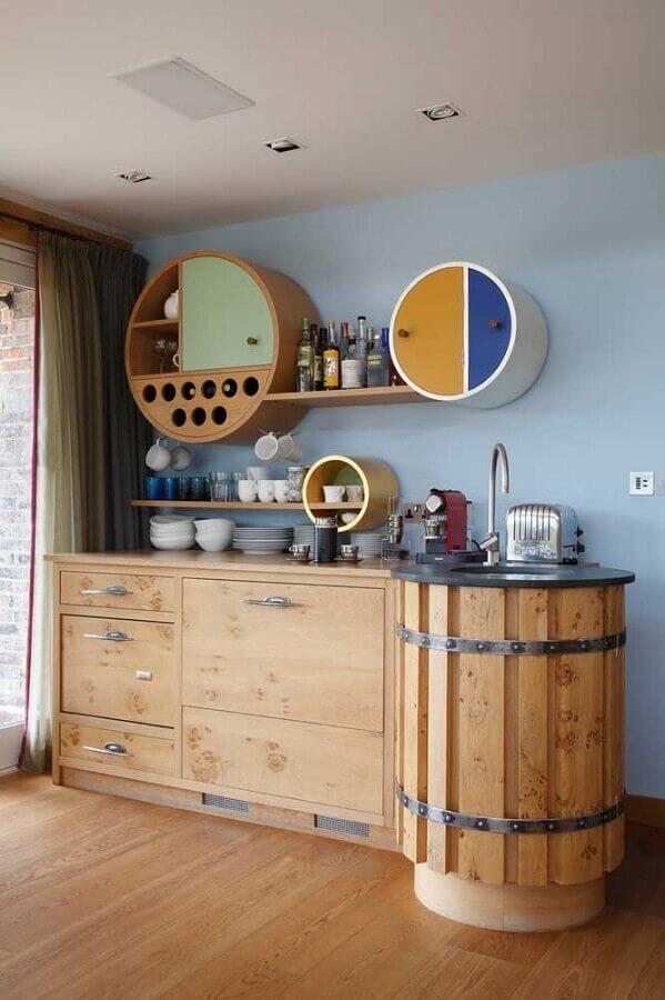 decoração rústica para cozinha com nichos redondos Foto James Balston