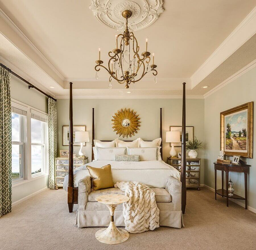 decoração sofisticada com lustre para quarto de casal Foto Decoist