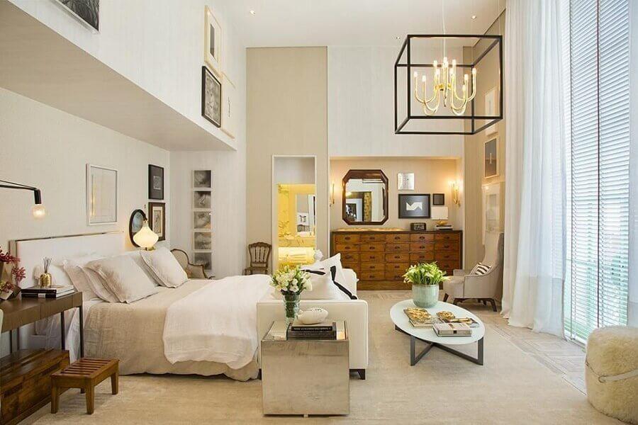 decoração com lustre para quarto de casal moderno Foto Paola Ribeiro