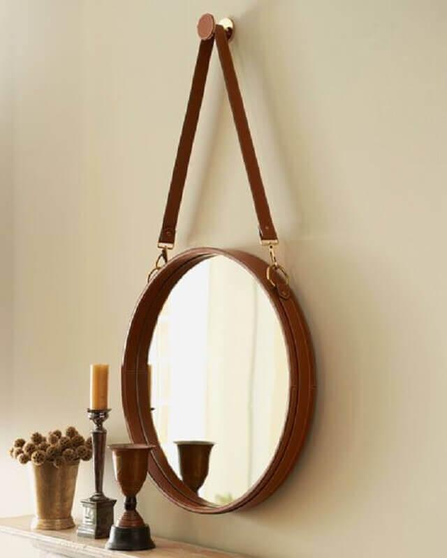 espelho redondo com couro Foto Pinterest