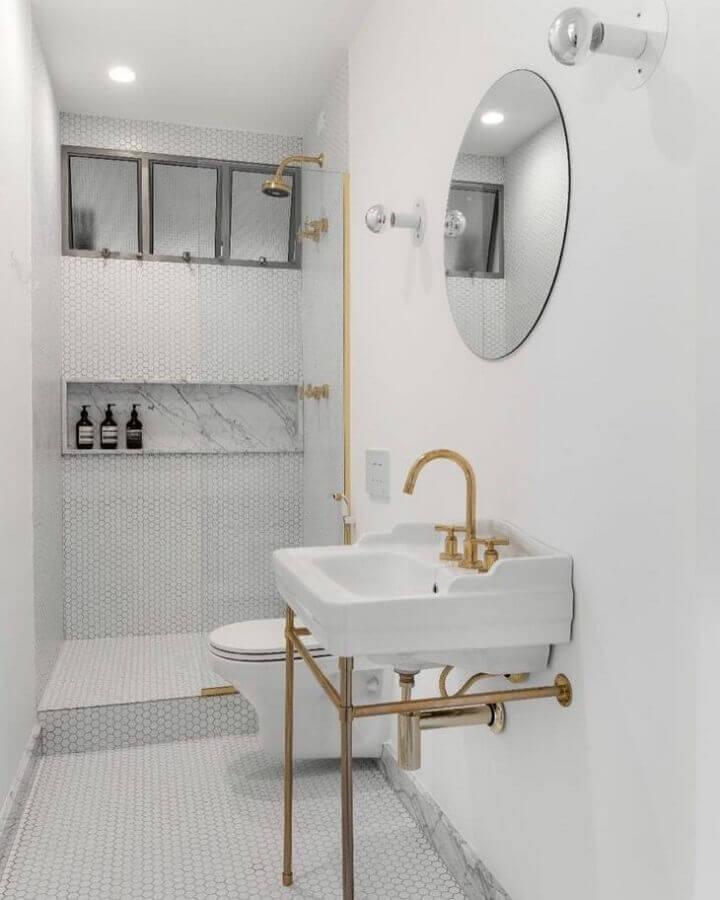espelho redondo para banheiro todo branco Foto PM Arquitetura
