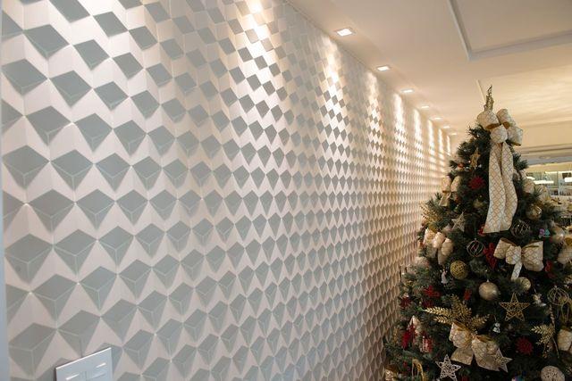 gesso acartonado - parede de gesso acartonado com desenhos geométricos
