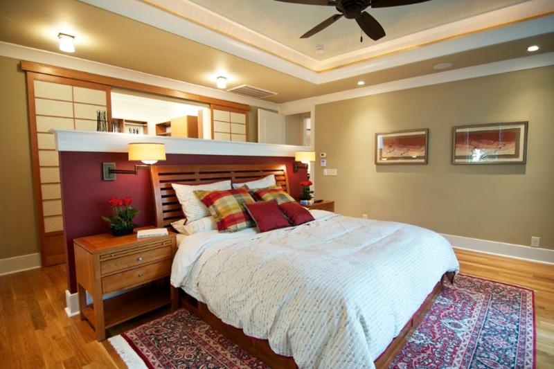 gesso acartonado - quarto de casal com sanca e maia parede feita em gesso