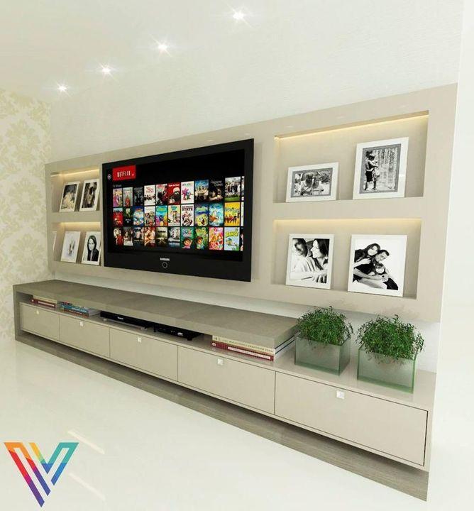 gesso acartonado - sala de estar com estante de gesso embutida na parede