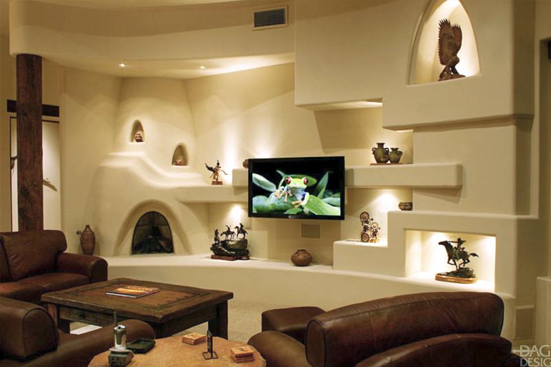 gesso acartonado - sala de estar com paineis curvos feitos em gesso