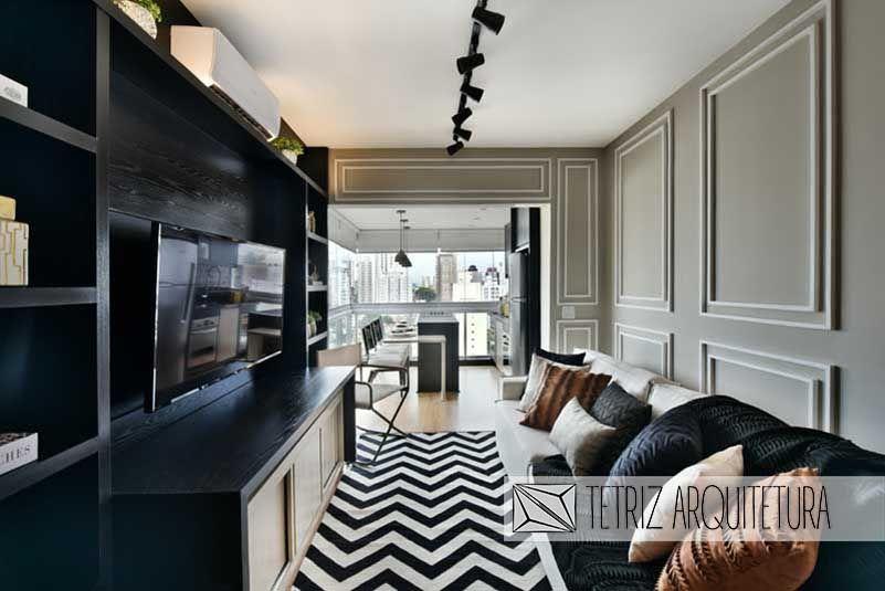 gesso acartonado - sala de estar com parede em gesso com painel