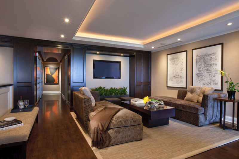 gesso acartonado - sala de estar com sanca e iluminação embutida