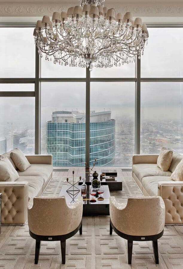 Lustre candelabro para sala de estar sofisticada