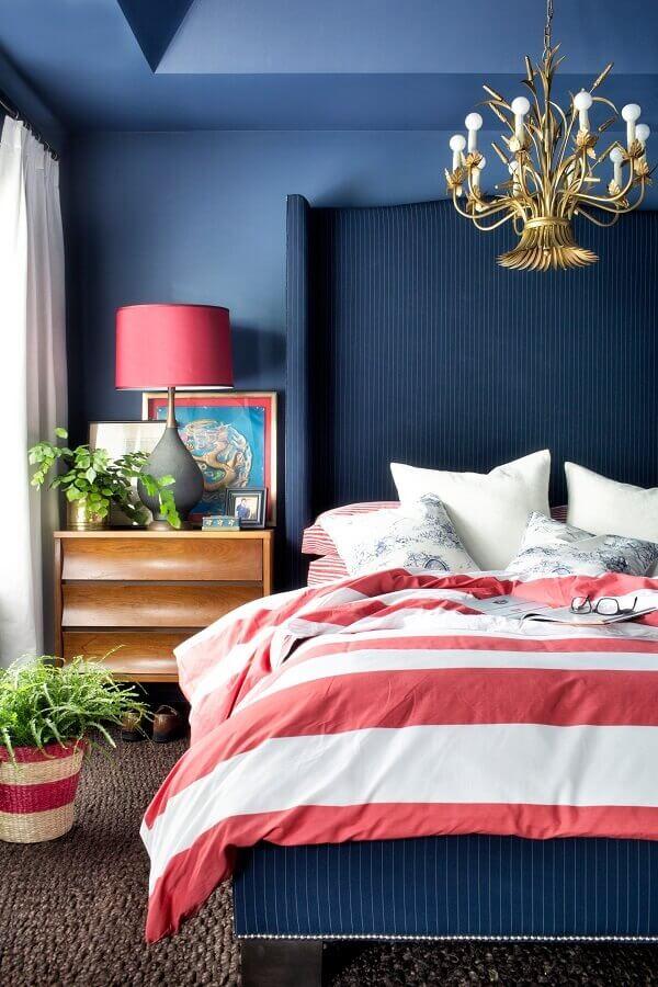 modelo diferente de lustre para quarto de casal todo azul Foto 7 Bedroom Ideas