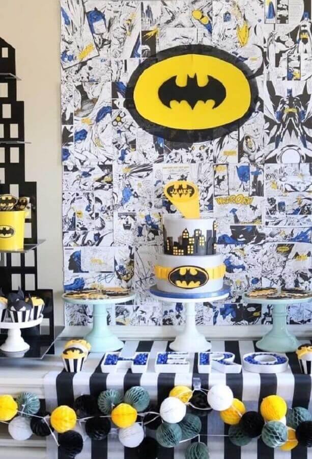 painel de HQ para festa de aniversário do batman Foto Pinterest