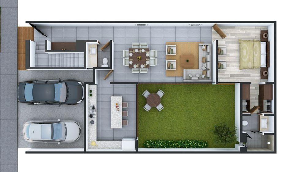 plantas de casas modernas - planta de casa com 1 quarto e closet