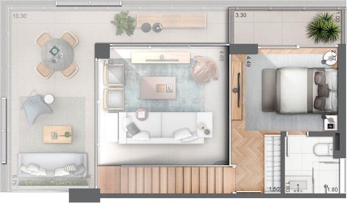 plantas de casas modernas - planta de casa com 1 quarto e dois andares