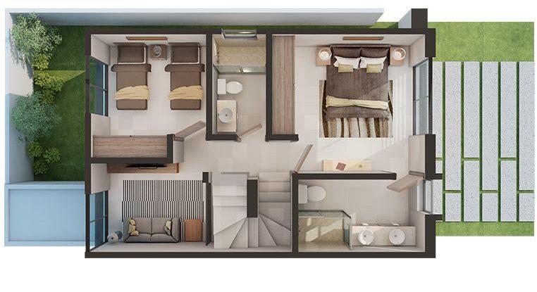 plantas de casas modernas - planta de casa com 2 quartos dois andares