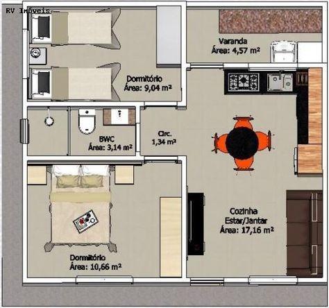 plantas de casas modernas - planta de casa com 2 quartos e cozinha com sala de jantar