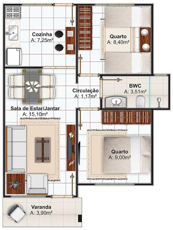plantas de casas modernas - planta de casa com 2 quartos e cozinha fechada