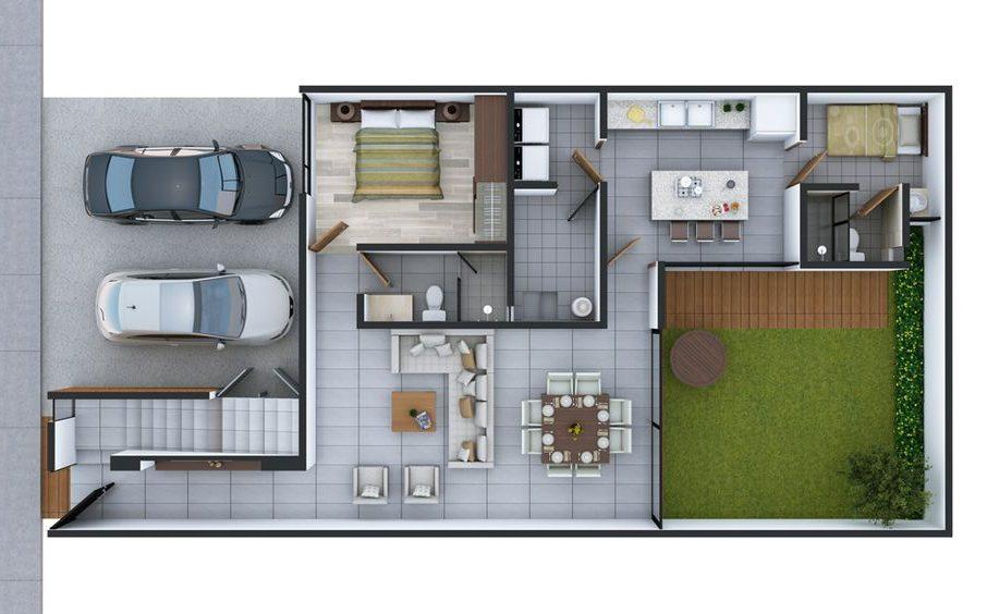 plantas de casas modernas - planta de casa com 2 quartos e cozinha ligada à sala de jantar