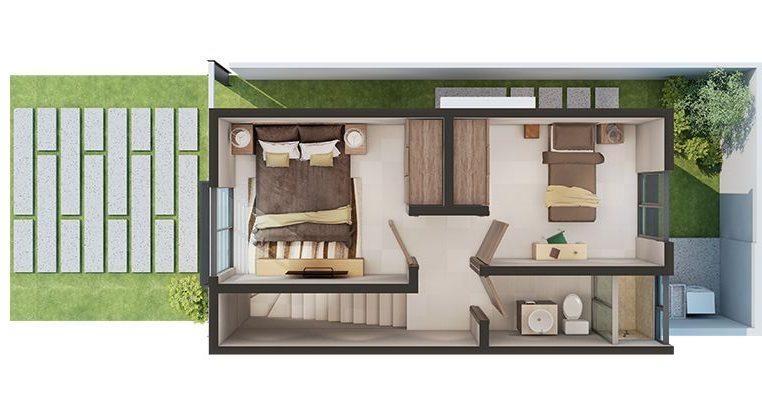 plantas de casas modernas - planta de casa com 2 quartos e dois andares