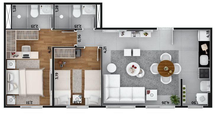 plantas de casas modernas - planta de casa com 2 quartos e dois banheiros