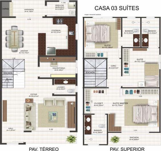 plantas de casas modernas - planta de casa com 2 quartos e e varanda com área de serviço
