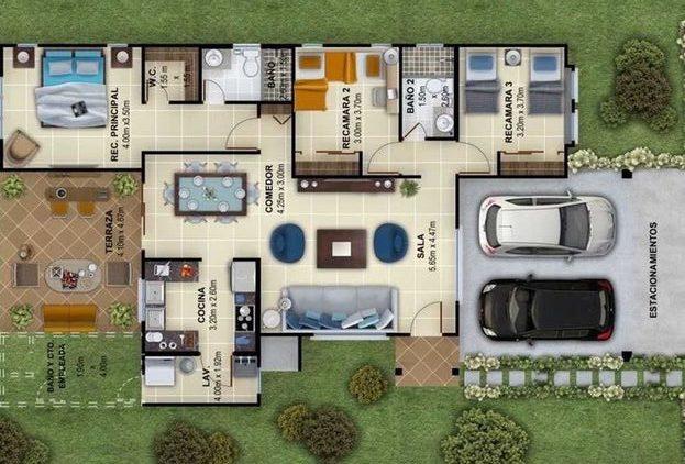 plantas de casas modernas - planta de casa com 2 quartos e garagem dupla e área de lazer