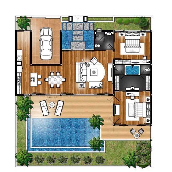 plantas de casas modernas - planta de casa com 2 quartos e sala de estar com conceito aberto ligada a cozinha