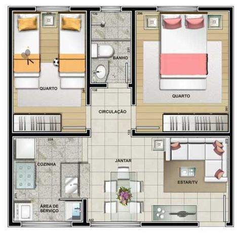 plantas de casas modernas - planta de casa com 2 quartos e sala de estar e de jantar com conceito aberto