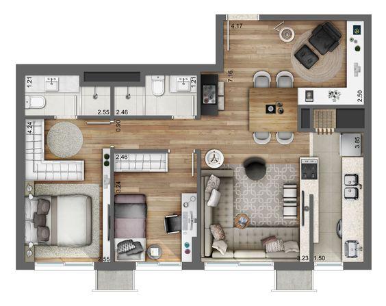 plantas de casas modernas - planta de casa com 2 quartos e sala de jantar pequena