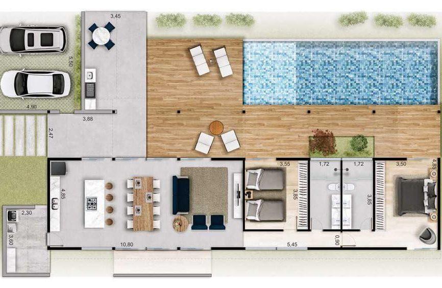 plantas de casas modernas - planta de casa com 2 quartos e sala fechada