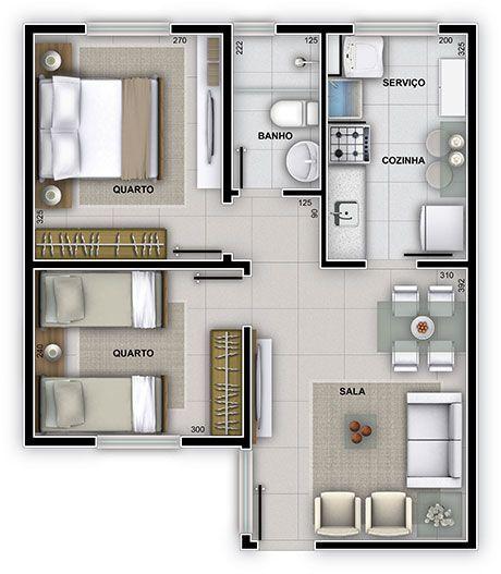 plantas de casas modernas - planta de casa com 2 quartos e sala pequena