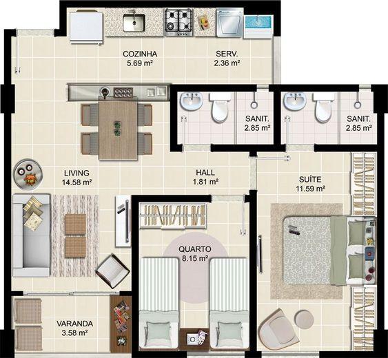 plantas de casas modernas - planta de casa com 2 quartos e varanda