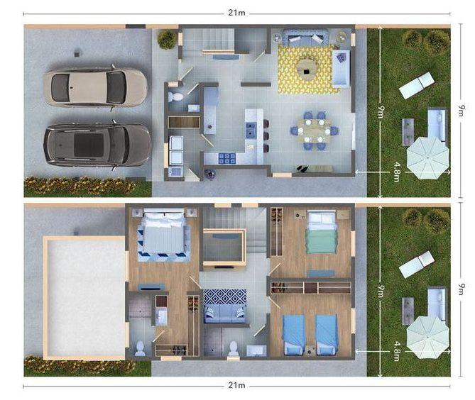 plantas de casas modernas - planta de casa com 3 quartos co cozinha em conceito aberto