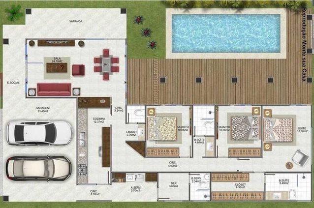 plantas de casas modernas - planta de casa com 3 quartos e área externa com piscina