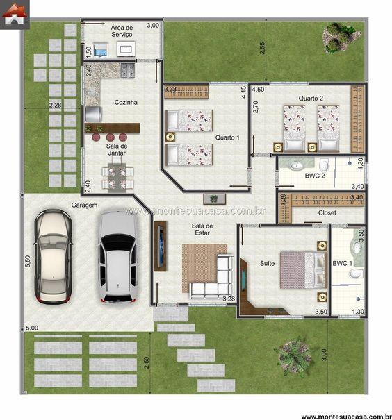 plantas de casas modernas - planta de casa com 3 quartos e closet