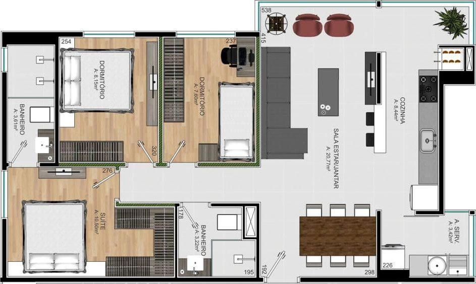 plantas de casas modernas - planta de casa com 3 quartos e cozinha com conceito aberto