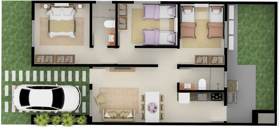 plantas de casas modernas - planta de casa com 3 quartos e cozinha com sala de cozinha e de jantar