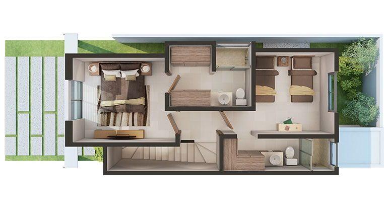 plantas de casas modernas - planta de casa com 3 quartos e dois andares