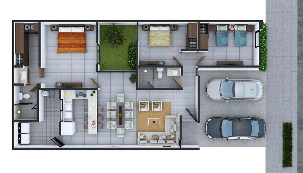 plantas de casas modernas - planta de casa com 3 quartos e dois banheiros