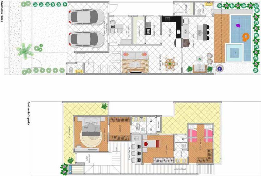 plantas de casas modernas - planta de casa com 3 quartos e jardim externo e interno