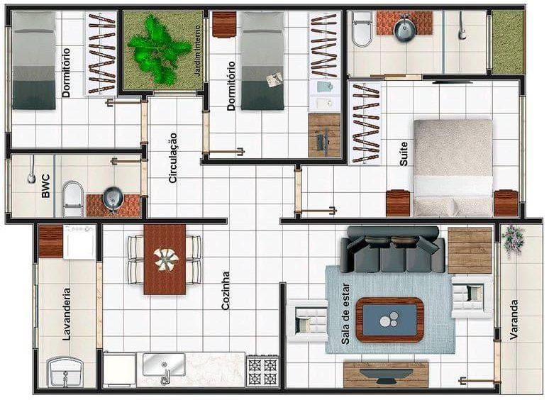 plantas de casas modernas - planta de casa com 3 quartos e jardim interno